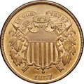 Two Cent Pieces, 1867 2C MS66 Red and Brown NGC. CAC....