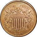 Two Cent Pieces, 1864 2C Large Motto MS65 Red and Brown NGC. CAC....