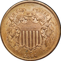 1864 2C Large Motto MS65 Red and Brown NGC. CAC....(PCGS# 3577)
