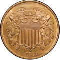Two Cent Pieces, 1869 2C MS65 Red and Brown NGC. CAC....