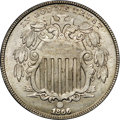 Shield Nickels, 1866 5C Rays MS64 NGC....
