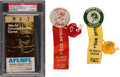 Football Collectibles:Tickets, 1967 Super Bowl I Ticket and Pinback Buttons - Green Bay Packersand Kansas City Chiefs....