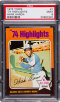Baseball Cards:Singles (1970-Now), 1975 Topps Hank Aaron Highlights #1 PSA Mint 9. ...