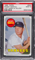 Baseball Cards:Singles (1960-1969), 1969 Topps Mickey Mantle, Yellow Letters #500 PSA Mint 9....