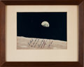 "Autographs:Celebrities, Apollo 8 Crew-Signed Color ""Earthrise"" Photo. ..."