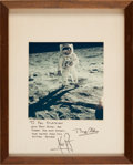 Autographs:Celebrities, Apollo 11 Moonwalkers: Color Lunar Surface Photo Signed on Mat....