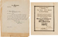 """Football Collectibles:Others, 1927 Harry Wilson """"All America"""" Certificate Signed By Knute Rockne, Pop Warner and Tad Jones...."""