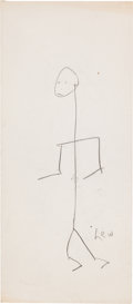 Basketball Collectibles:Others, Mid 1960's Lew Alcindor Hand Drawn Self Portrait - From BurtBritton Collection....