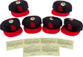 Baseball Collectibles:Hats, Stan Musial Signed St. Louis Cardinals Caps and Telegram Prints Lot of 12....
