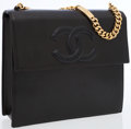 Luxury Accessories:Bags, Chanel Black Leather With Gold Chain Strap Logo Bag. ...