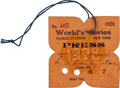 Baseball Collectibles:Tickets, 1928 World Series (New York Yankees) Press Pass, PSA Authentic....