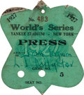 Baseball Collectibles:Tickets, 1927 World Series (New York Yankees) Press Pass, PSA Authentic....