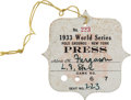 Baseball Collectibles:Tickets, 1933 World Series (New York Giants) Press Pass, PSA Authentic....