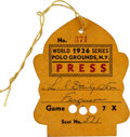 Baseball Collectibles:Tickets, 1936 World Series (New York Giants) Press Pass, PSA Authentic....
