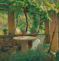 HENRI JEAN GUILLAUME MARTIN (French, 1860-1943) Charmille Oil on canvas 32-1/2 x 31-1/2 inches (8