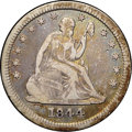 """Seated Quarters, 1844-O 25C VF30 NGC. Ex: """"Col."""" E.H.R. Green. Ivory high pointscomplement pinkish-gray, ochre, jade, and blue field colors..."""