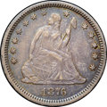 Seated Quarters, 1876-CC 25C AU53 NGC. Type Two Reverse. A lovely example of thishigh-mintage Seated quarter issue, struck during Carson Ci...