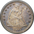 Seated Quarters, 1877-S 25C Over Horizontal S MS62 NGC. CAC. Briggs 4-D, FS-501....