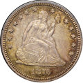 "Seated Quarters, 1876-S 25C MS61 NGC. CAC. Ex: ""Col."" E.H.R. Green. Type TwoReverse, Small S. Beautiful amber-gold rim toning frames pi..."