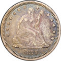 Seated Quarters, 1877-S 25C AU55 NGC. CAC. Medium S. The pastel patina includes arange of gold, blue, and pink hues on this attractive ...