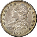 Bust Half Dollars, 1834 50C Large Date, Small Letters AU55 NGC. CAC. O-108, R.2. Thedeep cream-gray patina dominates, though traces of olive-...