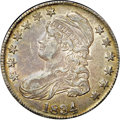 """Bust Half Dollars, 1834 50C Large Date, Small Letters AU53 NGC. CAC. O-106, R.1. Ex:""""Col."""" E.H.R. Green. This deep sea-green and lavender-gra..."""