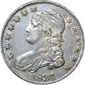 """Bust Half Dollars, 1834 50C Large Date, Small Letters AU55 NGC. O-104, R.2. Ex: """"Col.""""E.H.R. Green. Deep ocean-blue toning encompasses this l..."""