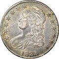 Bust Half Dollars, 1833 50C AU55 NGC. CAC. O-114, R.2. No marks are evident beneaththe deep gunmetal-gray and sea-green toning. Luster emerge...