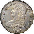 "Bust Half Dollars, 1834 50C Large Date, Large Letters AU55 NGC. CAC. O-101, R.1. Ex:""Col."" E.H.R. Green. Wheat-gold, forest-green, and navy-b..."