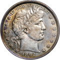 """Barber Half Dollars, 1892 50C AU58 NGC. Ex: """"Col."""" E.H.R. Green. Rich toning providesthis lustrous near-Mint half with strong eye appeal. The p..."""