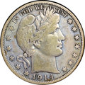 "Barber Half Dollars, 1914-S 50C F15 NGC. Ex: ""Col."" E.H.R. Green. Lovely shades ofdenim-blue, blue-green, gold, violet, and golden-brown are pr..."