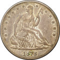 Seated Half Dollars, 1878 50C XF40 NGC. CAC. WB-101. Deeply toned blue-gray overall withlighter areas of peach and gold. Despite appreciable we...