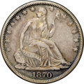 Seated Half Dollars, 1870-S 50C XF45 NGC. CAC. WB-101. Gold, rose-gray, violet, and bluehues embrace each side, the deeper colors more prominen...