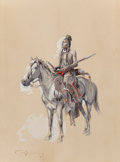 Works on Paper, CHARLES MARION RUSSELL (American, 1864-1926). Indian on Horseback, 1900. Watercolor and gouache on buff paper. 14 x 11 i...