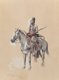 CHARLES MARION RUSSELL (American, 1864-1926) Indian on Horseback, 1900 Watercolor and gouache on buf