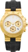 Timepieces:Wristwatch, Bulgari Ref. F-491/B Gold Chronograph. ...
