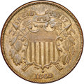 Two Cent Pieces, 1869 2C MS62 Brown NGC. ...