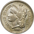 Three Cent Nickels, 1865 3CN AU58 NGC. CAC. Streaks of peach-gold at the right obverseand reverse with steel-gray elsewhere. Only a touch of r...