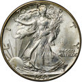 Walking Liberty Half Dollars, 1945-D 50C MS66+ NGC. CAC. A high-end Premium Gem representative,this piece possesses largely brilliant surfaces, with onl...