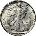 Walking Liberty Half Dollars, 1945-S 50C MS64 NGC. CAC. Another example of the scarcer Large Smintmark variety, this lightly toned near-Gem exhibits ric...