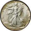 Walking Liberty Half Dollars, 1947 50C MS66+ NGC. CAC. Rich frosty luster is present on thishigh-end Premium Gem representative. The surfaces reveal a g...