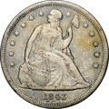Seated Dollars, 1843 $1 -- Reverse Scratched -- NGC Details. VF....