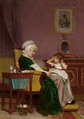 Fine Art - Painting, European:Other , LOUIS EMILE ADAN (French, 1839-1937). The First Lesson. Oilon canvas. 23 x 16-1/4 inches (58.4 x 41.3 cm). Signed lower...