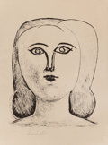 Prints, PABLO PICASSO (Spanish, 1881-1973). Tête de Jeune Fille, 1946. Lithograph on Rives paper. 12-5/8 x 10-1/4 inches (32.1 x...