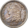 "Bust Dimes, 1837 10C AU55 NGC. JR-4, R.1. Ex: ""Col."" E.H.R. Green. Deepsteel-blue and walnut-brown encompass well defined and glossy s..."