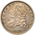 Bust Dimes, 1835 10C XF40 NGC. CAC. JR-9, R.2. Apple-green and chestnut-gold grace this moderately circulated Bust dime. The fields hav...
