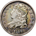 Bust Dimes, 1836 10C VF30 NGC. CAC. JR-1, R.3. Lime-green and rose-red areprevalent though an area of deep gunmetal-gray is noted near...
