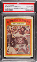 "Baseball Cards:Singles (1970-Now), 1972 Topps Test ""Cloth Stickers"" Roberto Clemente PSA Gem MT 10 -The Ultimate Example! ..."