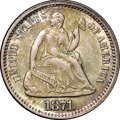 Seated Half Dimes, 1871 H10C MS64 NGC. CAC. Bold and beautiful toning is mostly bluewith dusky peach accents. A well-defined and smooth near-...