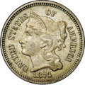 1874 3CN AU58 NGC. CAC. Strongly struck on the reverse with only a whisper of wear on the high points. Surfaces range fr...